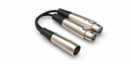 Hosa YXF-101.5 - Y Cable, Dual XLR3F to XLR3M, 18 in