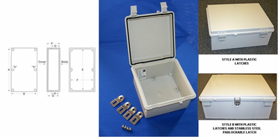 NBF-32444 Bud Industries - NEMA 4X Enclosures-NBF series-UL/NEMA/IEC IP67-L29 X W21 X D7 - Nema Box Pc/Pbt Outdr Nstk Clr