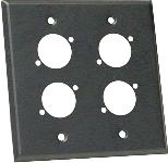 Whirlwind WP2B/4ND - wallplate - 2 gang, black, punched for 4 neutrik xlrs