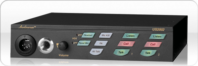 "Telex US-2002 F.01U.118.754 - 2 Ch user/main station with external balanced/unbalanced selector switch, dynamic mic headset jack (XLR-4M), gooseneck mic jack (1/4"" locking), separate channel program input (DB9F) and level control, call light and audible tone and level control, (4) XLR-3 channel connectors (one M/F per channel), PA output (1/8"" stereo phone jack) and (2) RCA speaker output jacks (one per channel), 1/2 rack wide by 1 high. Requires a power supply."