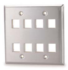 West Penn Accessories DSKF-12 12-Port Double Gang Stainless Steel Keystone.