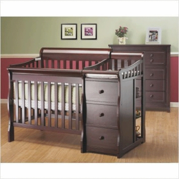 Sorelle Newport Mini Convertible Crib and Changer - Merlot