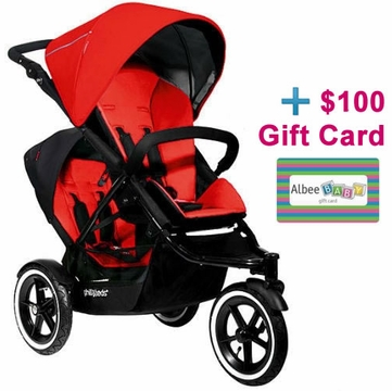 Phil & Teds Navigator Double Buggy - Cherry with FREE $100 Gift Certificate