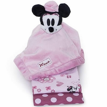 Kids Line Minnie 2PK Receiving Blankets + Security Blanket