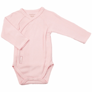 Kushies Baby Wrap Long Sleeve Bodysuit in Pink-3 Month