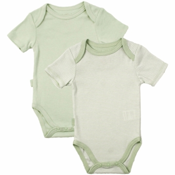 Kushies Baby Short Sleeve Solid/Stripe Bodysuit in Green- 6 Months