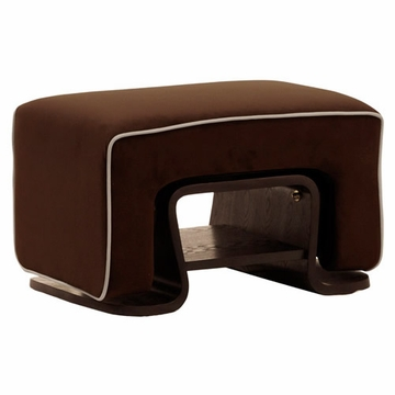 Nurseryworks Cole Ottoman - Mocha with Ecru Piping (Dark Legs)