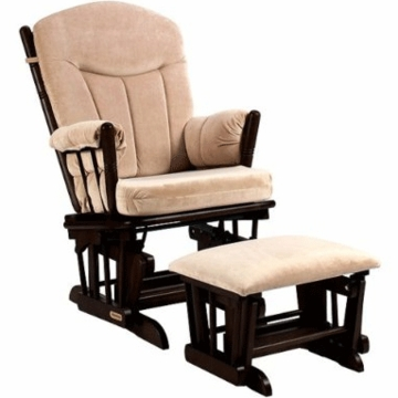 Shermag Regency Premium Multi-Position Locking Glider Rocker and Ottoman Set - Espresso Finish with Beige Micro Fiber