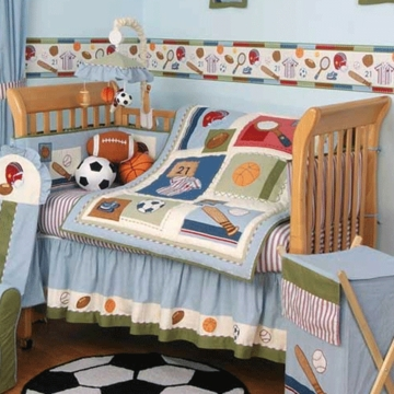 KidsLine Home Run 6 Piece Crib Bedding Set