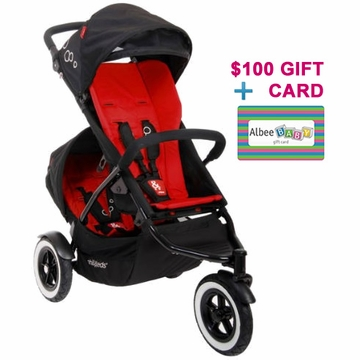 Phil & Teds Dot Double Buggy - Chilli with FREE $100 Gift Certificate