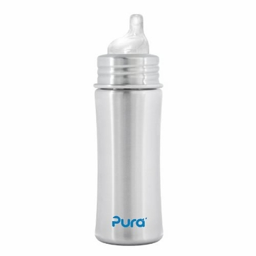 Pura Stainless Kiki 11 oz Sippy Bottle - Natural Stainless
