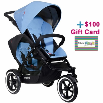 Phil & Teds Navigator Double Buggy - Sky with FREE $100 Gift Certificate