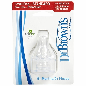 Dr. Brown's Level-1 Standard Neck Nipple, 2-Pack