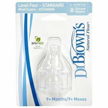 Dr. Brown's Level-4 Standard Neck Nipple, 2-Pack