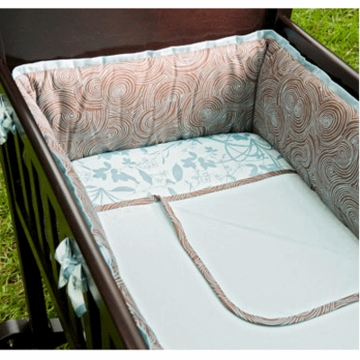 Green Frog Art Whisper Grass Organic 4 Piece Cradle Bedding Set