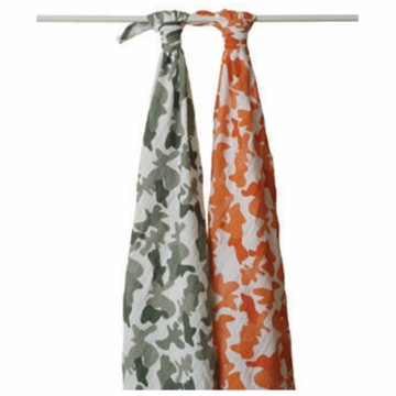 Aden + Anais 100% Cotton Muslin Swaddle Wrap-2 Pack - Camo