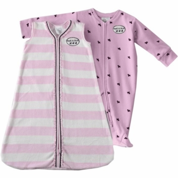 Halo SleepSack Wearable Blanket & Footed Chenille Stripe with Scotty Dog Print Set in Pink 3-6 Months