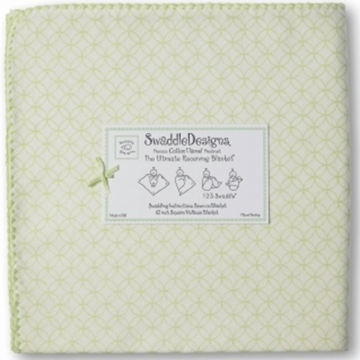 SwaddleDesigns Ultimate Receiving Blanket in Very Light Kiwi Circle on Circle with Kiwi Trim