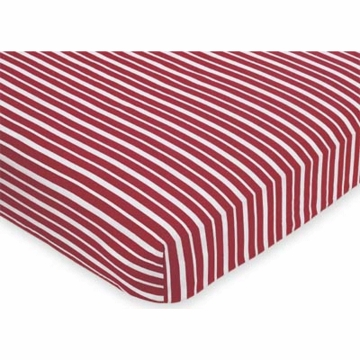 Sweet JoJo Designs Aviator Crib Fitted Sheet in Red Stripe