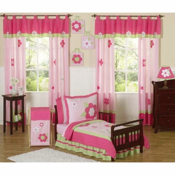 Sweet JoJo Designs Flower Pink and Green 5 Piece Toddler Bedding Set