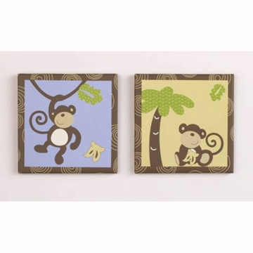 CoCo & Company Monkey Time 2 Piece Canvas Art