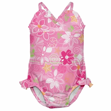iPlay Ultimate Swim Diaper Triangle Tanksuit - Classics Light Pink Flowers - Small (6 mo)