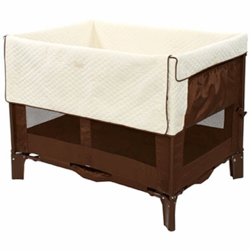 Arm's Reach Original Co-Sleeper Bassinet in Cocoa with Natural Liner