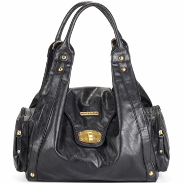 Timi & Leslie Annette Designer Leather Diaper Bag in Black