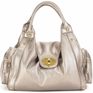 Timi & Leslie Annette Designer Leather Diaper Bag in Pewter