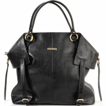 Timi & Leslie Charlie Designer Leather Diaper Bag in Black