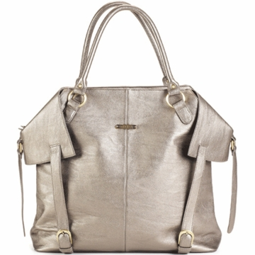 Timi & Leslie Charlie Designer Leather Diaper Bag  in Pewter