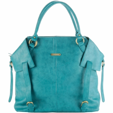Timi & Leslie Charlie Designer Leather Diaper Bag in Teal