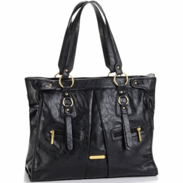 Timi & Leslie Dawn Designer Leather Diaper Bag in Black
