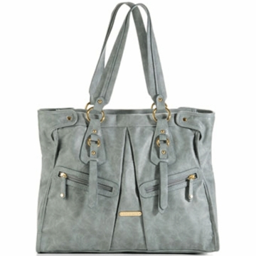 Timi & Leslie Dawn Designer Leather Diaper Bag in Cloud Blue