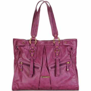 Timi & Leslie Dawn Designer Leather Diaper Bag in Raspberry