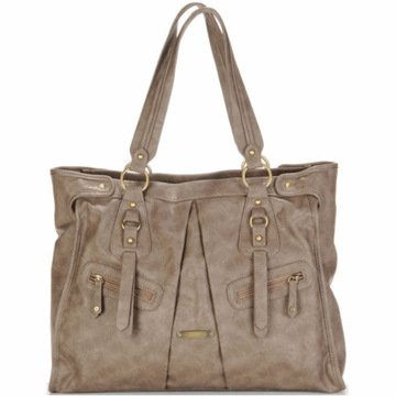 Timi & Leslie Dawn Designer Leather Diaper Bag in Taupe
