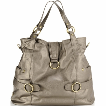 Timi & Leslie Hannah Designer Leather Diaper Bag in Pewter