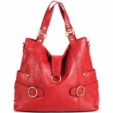 Timi & Leslie Hannah Designer Leather Diaper Bag in Rouge