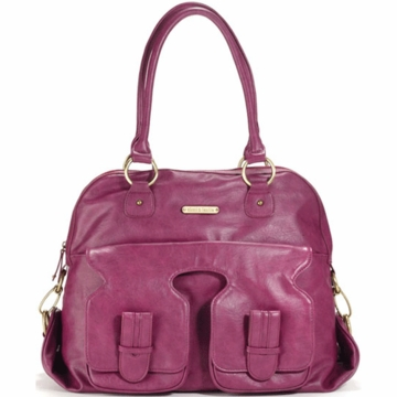 Timi & Leslie Marilyn Designer Leather Diaper Bag in Raspberry
