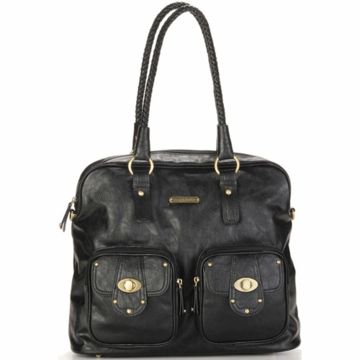 Timi & Leslie Rachel Designer Leather Diaper Bag in Black
