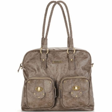Timi & Leslie Rachel Designer Leather Diaper Bag in Taupe