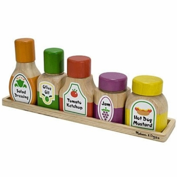 Melissa & Doug Deluxe Wooden Magnetic Kitchen Bottle Collection