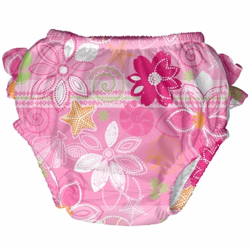 iPlay Ultimate Ruffle Swim Diaper - Classics Light Pink Flowers - Medium (12 mo)