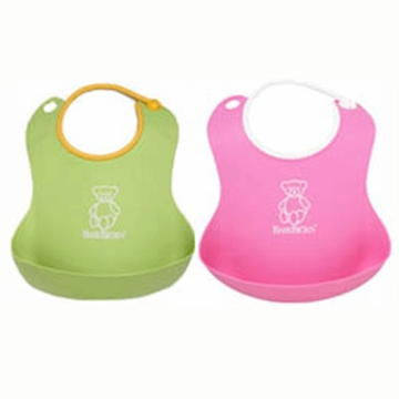 BabyBj�rn Soft Bib 2 Pack in Green & Pink