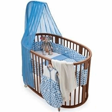 Stokke Sleepi 4 Piece Crib Bedding Set in Dots Blue