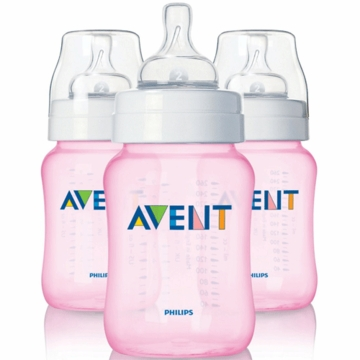 Avent 9 Ounce BPA Free 3 Pack Bottles in Pink