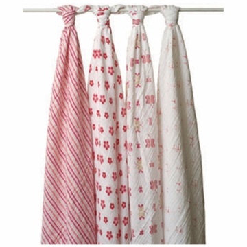 Aden + Anais 100% Cotton Princess Posie Muslin Swaddle Wrap-4 Pack