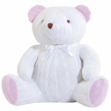 Elegant Baby Huge Cable Bear - White & Pink