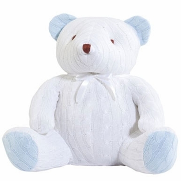 Elegant Baby Huge Cable Bear - White & Blue