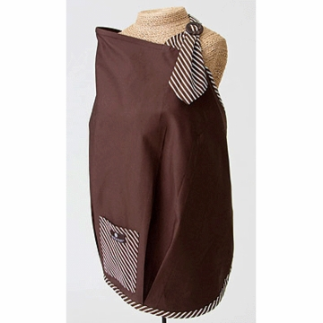 Balboa Baby Nursing Cover in Brown with Stripe Trim